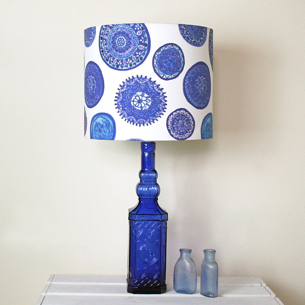 Blue And White Porto Handmade Stand Lampshade Made By Ilze