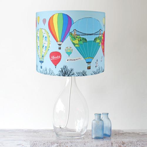 Bristol balloons handmade stand lampshade made by ilze bristol balloons stand lampshade with colourful hot air balloons aloadofball Images